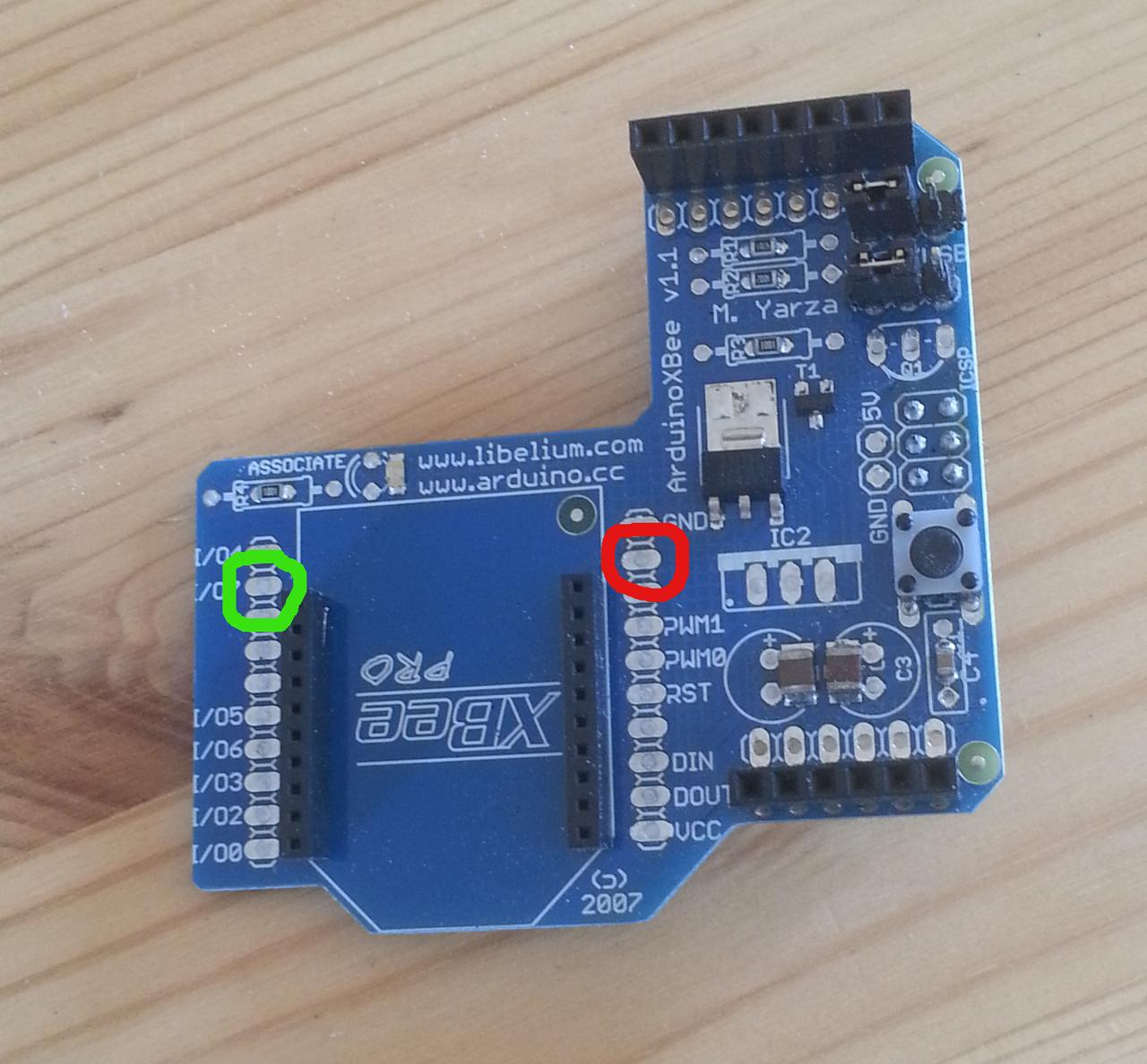 Pins relating to XBee sleep mode